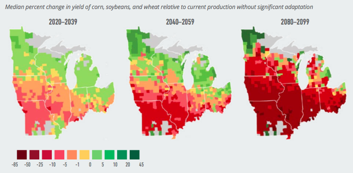 Projected Change in Corn, Soybeans, and Wheat Yields. Data Source: American Climate Prospectus.