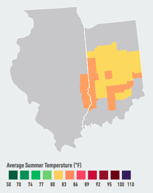 On our current path, residents of Indianapolis will see the average number of days over 95°F per year increase from 2 over the past 30 years to 3 to 13 likely within the next 5 to 25 years. Higher temperatures will likely raise electricity demand and energy costs, decrease labor productivity, and increase heat-related mortality and violent crime over the course of the century. Data Source: American Climate Prospectus.