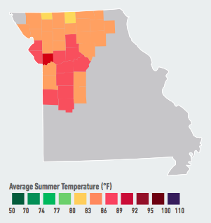 On our current emissions path, residents of Kansas City (who already experience the highest average summer temperatures in the Midwest) will see the average number of days over 95°F per year likely double to triple within the next 5 to 25 years. This major transportation hub will also experience large increases in electricity consumption, resulting in a 4% to 16% likely increase in energy costs by mid-century. Data Source: American Climate Prospectus.
