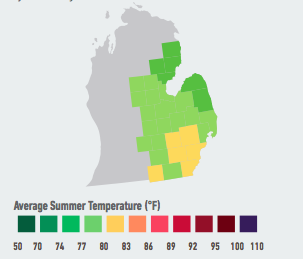 On our current emissions path, residents of Detroit will likely see the average number of days over 95°F per year increase from 1 over the past 30 years to 3 to 7 within the next 5 to 25 years. Higher temperatures will likely raise electricity demand and energy costs and increase violent crime over the course of the century. Data Source: American Climate Prospectus.