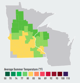<br /> On our current emissions path, residents of Minneapolis-St. Paul will see warmer winters and hotter summers, with 3to 7 days over 95°F per year likely in the next 5 to 25 years. As a result of these seasonal changes, Minneapolis-St. Paul residents will spend less on energy to heat their homes in the winter, but more to cool them in the summer, resulting in overall energy cost increases of up to 18% likely by end of century. Data Source: American Climate Prospectus.