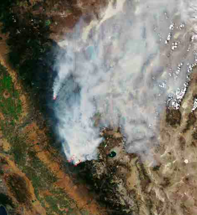 Satellite view of the 2014 Yosemite Rim Fire